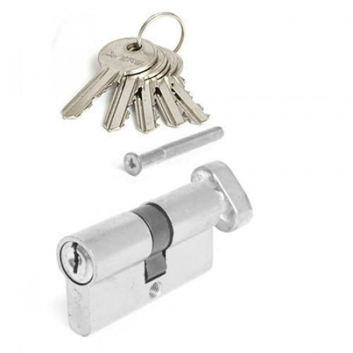 Цилиндр дверной  MAXI Locks EN60(30*30) английский ключ/вертушка SN Матовый никель