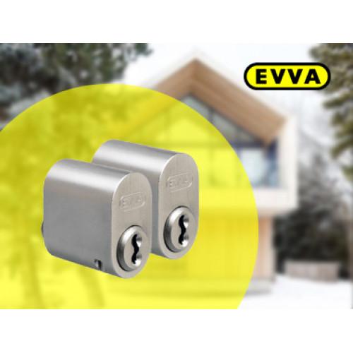 Цилиндр овальный  EVVA 3KS наружный (SKA) матовый хром