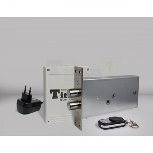 Врезной скрытый электронный замок невидимка Титан-GSM с накладным блоком управления