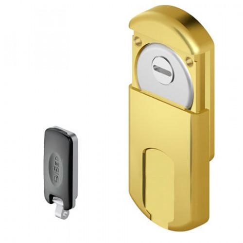 Броненакладка магнитная DISEC MG-351-mini AL (магнитная защита цилиндра с врезной частью) золото