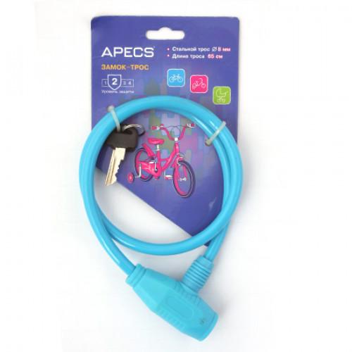 Замок навесной велосипедный (трос) Apecs PD-81-65СМ-BLUE